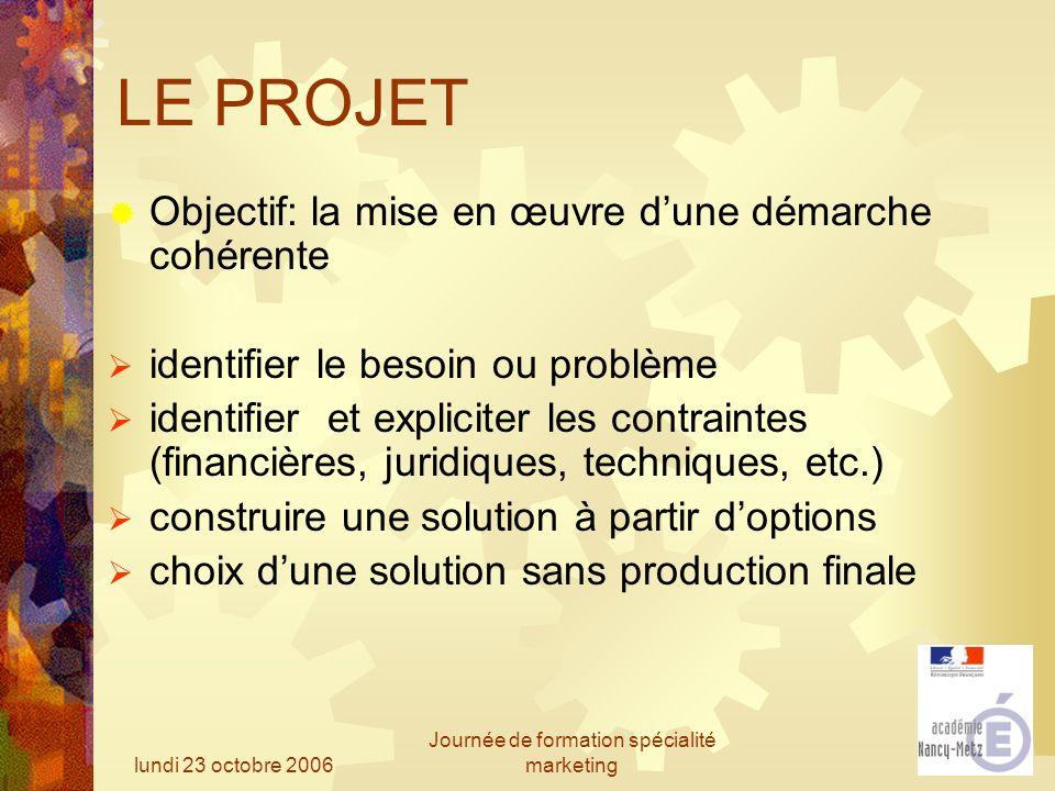 lundi 23 octobre 2006 Journée de formation spécialité marketing LE PROJET Objectif: la mise en œuvre dune démarche cohérente identifier le besoin ou p