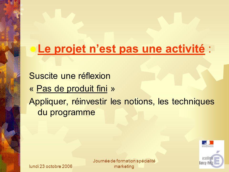 lundi 23 octobre 2006 Journée de formation spécialité marketing Le projet nest pas une activité : Suscite une réflexion « Pas de produit fini » Appliq