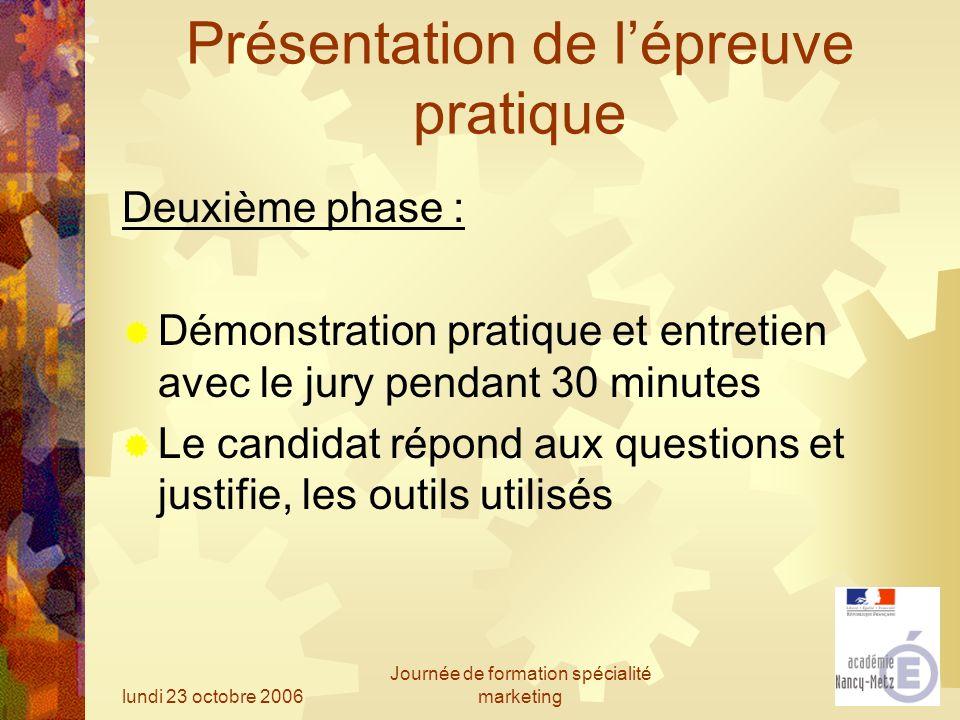 lundi 23 octobre 2006 Journée de formation spécialité marketing Présentation de lépreuve pratique Deuxième phase : Démonstration pratique et entretien