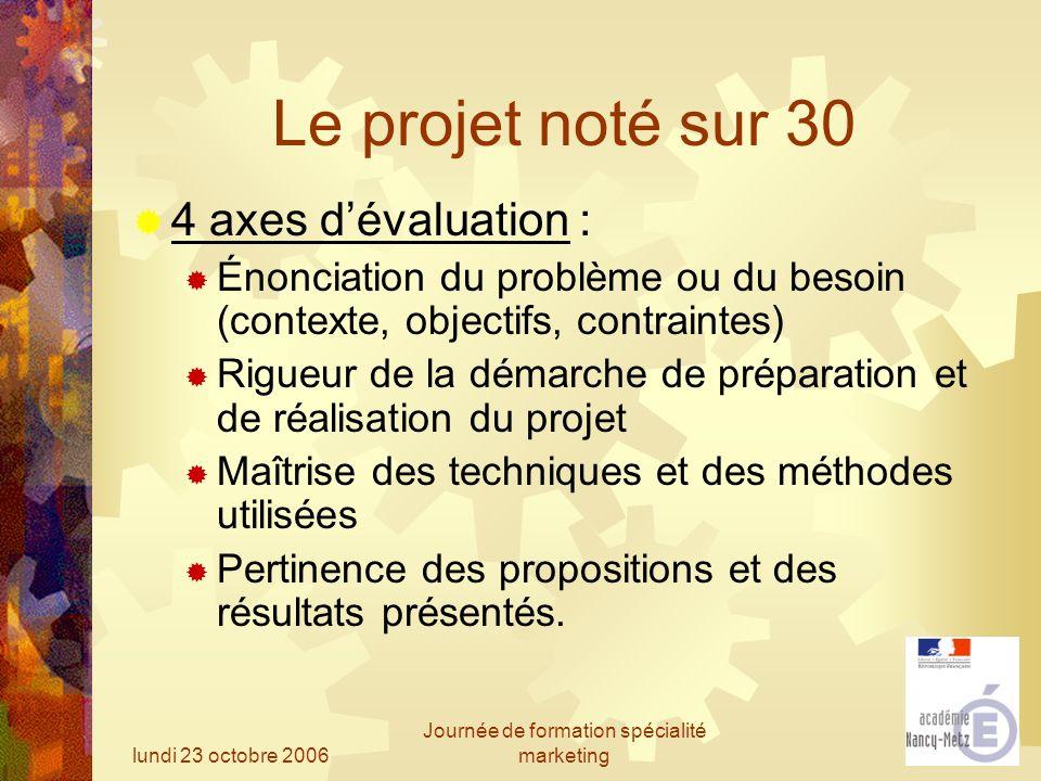 lundi 23 octobre 2006 Journée de formation spécialité marketing Le projet noté sur 30 4 axes dévaluation : Énonciation du problème ou du besoin (conte