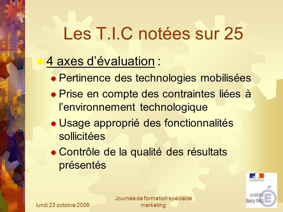 lundi 23 octobre 2006 Journée de formation spécialité marketing Les T.I.C notées sur 25 4 axes dévaluation : Pertinence des technologies mobilisées Pr