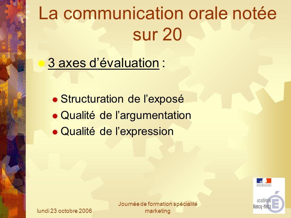 lundi 23 octobre 2006 Journée de formation spécialité marketing La communication orale notée sur 20 3 axes dévaluation : Structuration de lexposé Qual