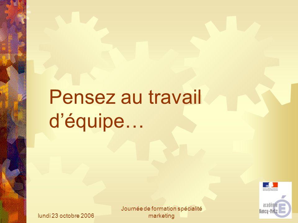 lundi 23 octobre 2006 Journée de formation spécialité marketing Pensez au travail déquipe…