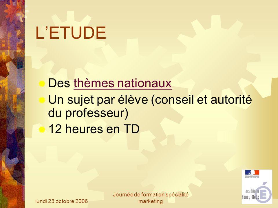 lundi 23 octobre 2006 Journée de formation spécialité marketing LETUDE Des thèmes nationauxthèmes nationaux Un sujet par élève (conseil et autorité du