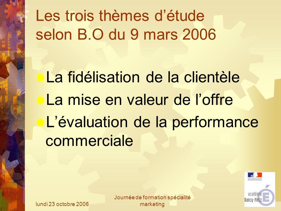 lundi 23 octobre 2006 Journée de formation spécialité marketing Les trois thèmes détude selon B.O du 9 mars 2006 La fidélisation de la clientèle La mi