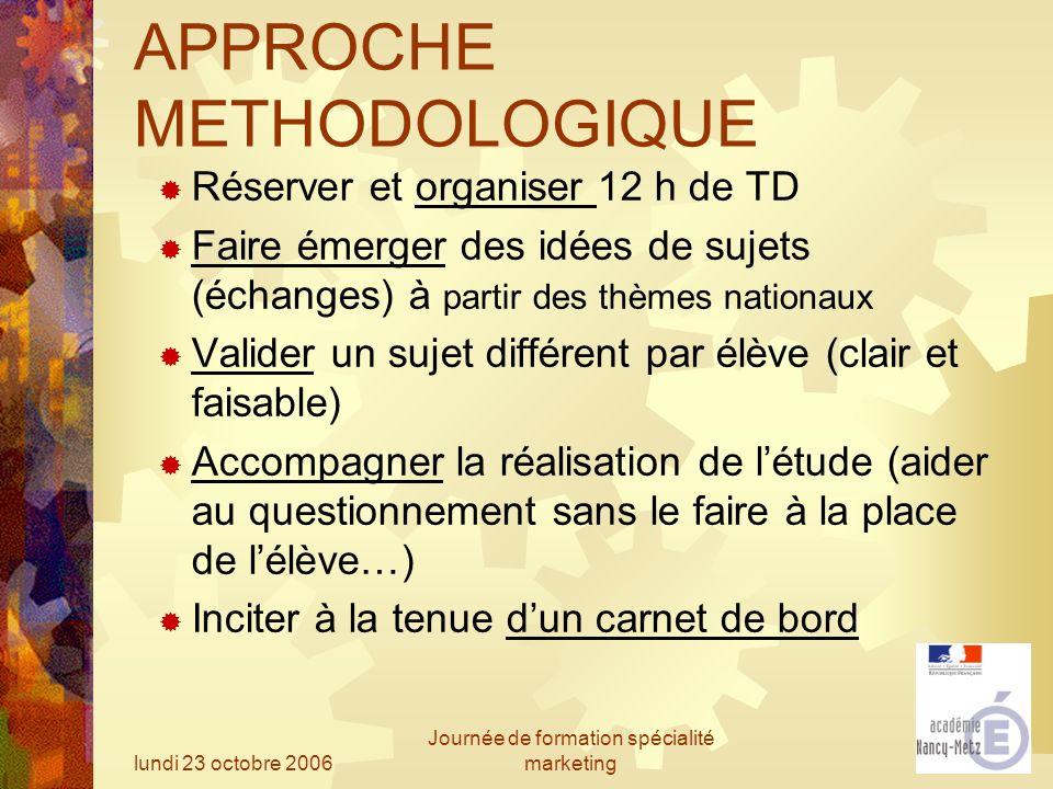 lundi 23 octobre 2006 Journée de formation spécialité marketing APPROCHE METHODOLOGIQUE Réserver et organiser 12 h de TD Faire émerger des idées de su