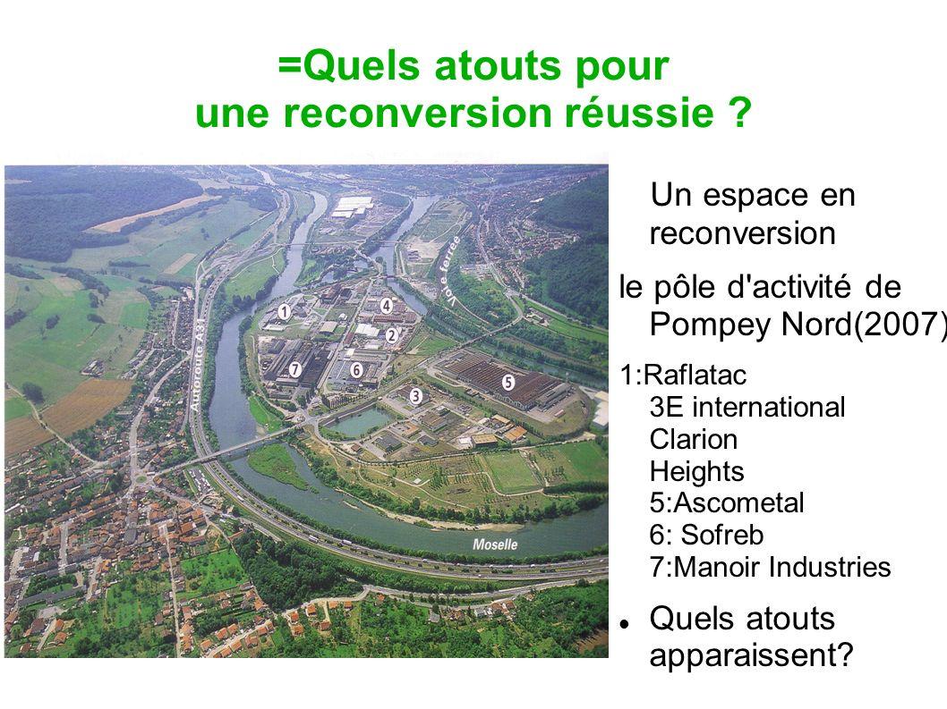 =Quels atouts pour une reconversion réussie ? Un espace en reconversion le pôle d'activité de Pompey Nord(2007) 1:Raflatac 2: 3E international 3: Clar