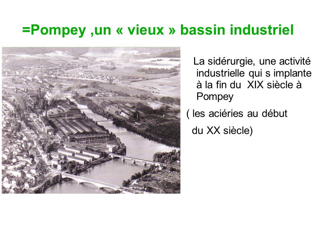 =Pompey,un « vieux » bassin industriel La sidérurgie, une activité industrielle qui s implante à la fin du XIX siècle à Pompey ( les aciéries au début