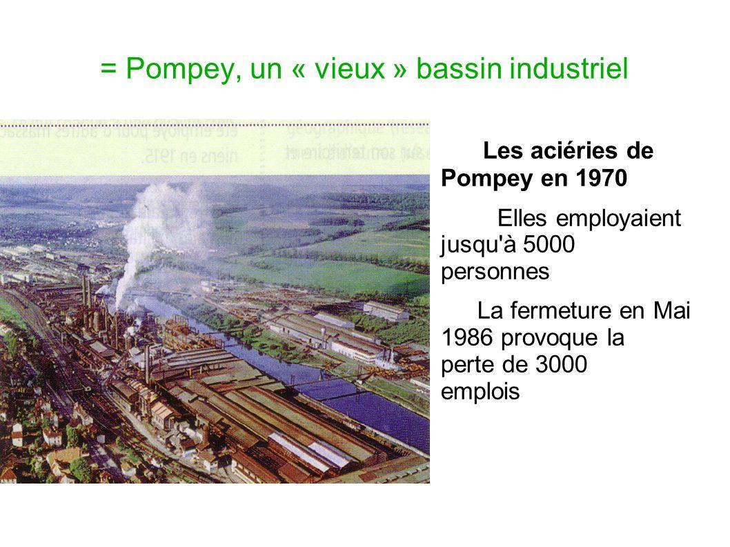 = Pompey, un « vieux » bassin industriel Les aciéries de Pompey en 1970 Elles employaient jusqu'à 5000 personnes La fermeture en Mai 1986 provoque la
