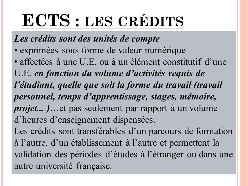 ECTS : LES CRÉDITS Les crédits sont des unités de compte exprimées sous forme de valeur numérique affectées à une U.E.
