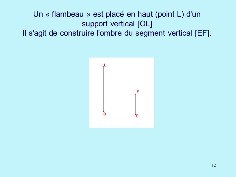 12 Un « flambeau » est placé en haut (point L) d'un support vertical [OL] Il s'agit de construire l'ombre du segment vertical [EF].