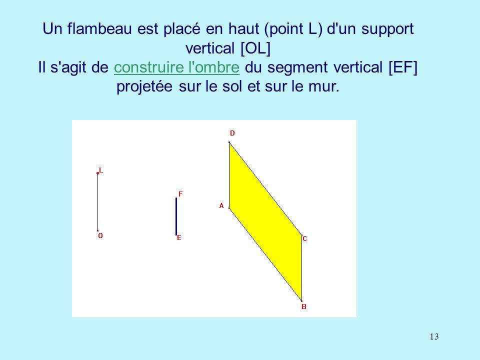 13 Un flambeau est placé en haut (point L) d un support vertical [OL] Il s agit de construire l ombre du segment vertical [EF] projetée sur le sol et sur le mur.construire l ombre