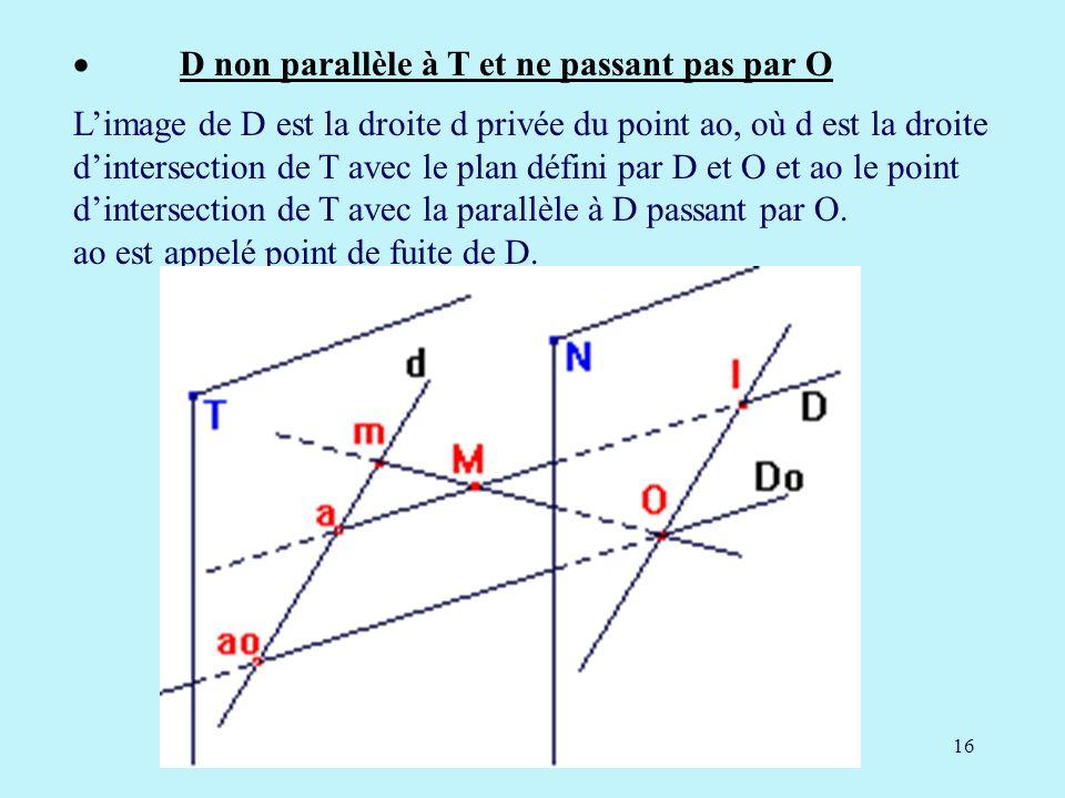 16 D non parallèle à T et ne passant pas par O Limage de D est la droite d privée du point ao, où d est la droite dintersection de T avec le plan défini par D et O et ao le point dintersection de T avec la parallèle à D passant par O.