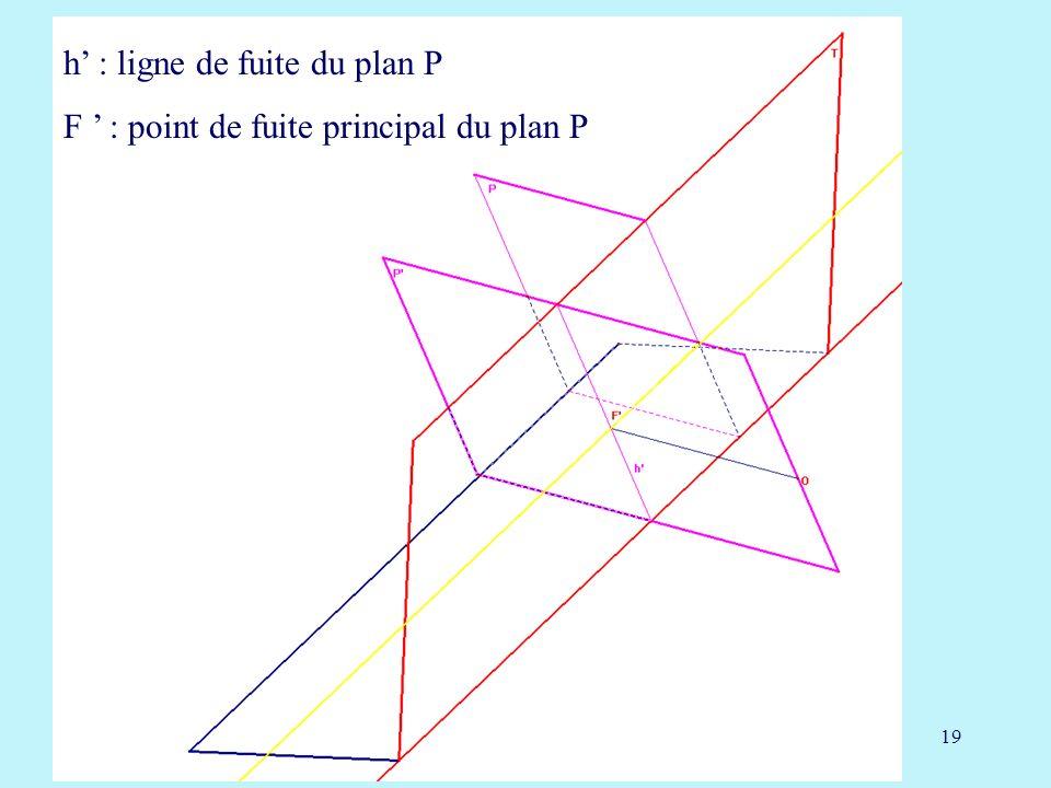19 h : ligne de fuite du plan P F : point de fuite principal du plan P