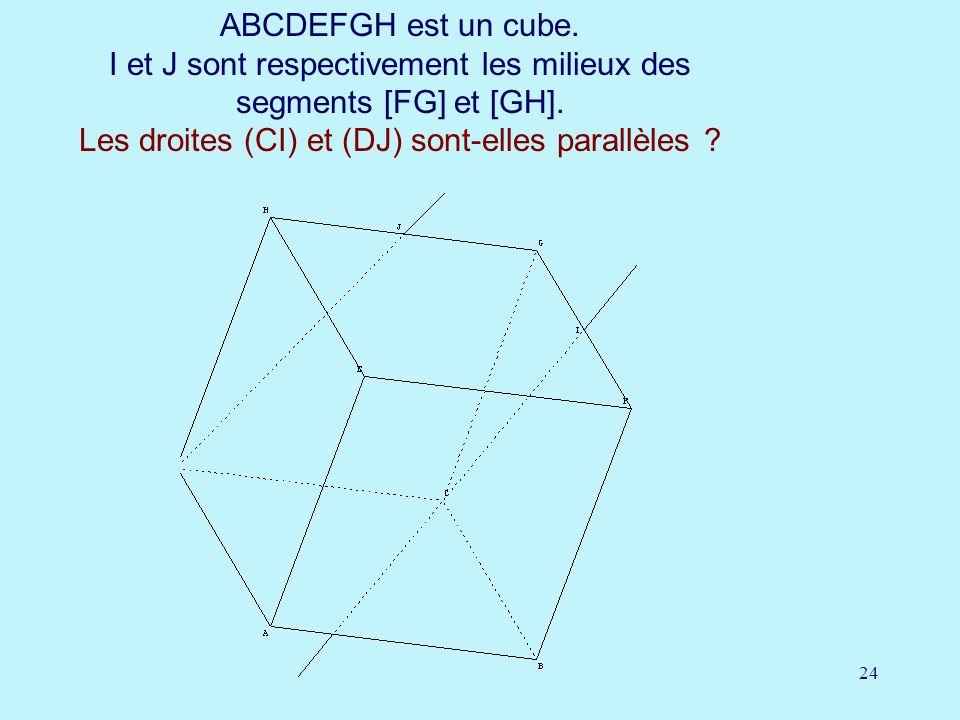 24 ABCDEFGH est un cube. I et J sont respectivement les milieux des segments [FG] et [GH]. Les droites (CI) et (DJ) sont-elles parallèles ?