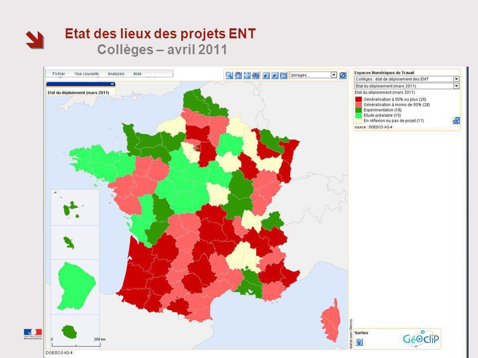 Etat des lieux des projets ENT Collèges – avril 2011