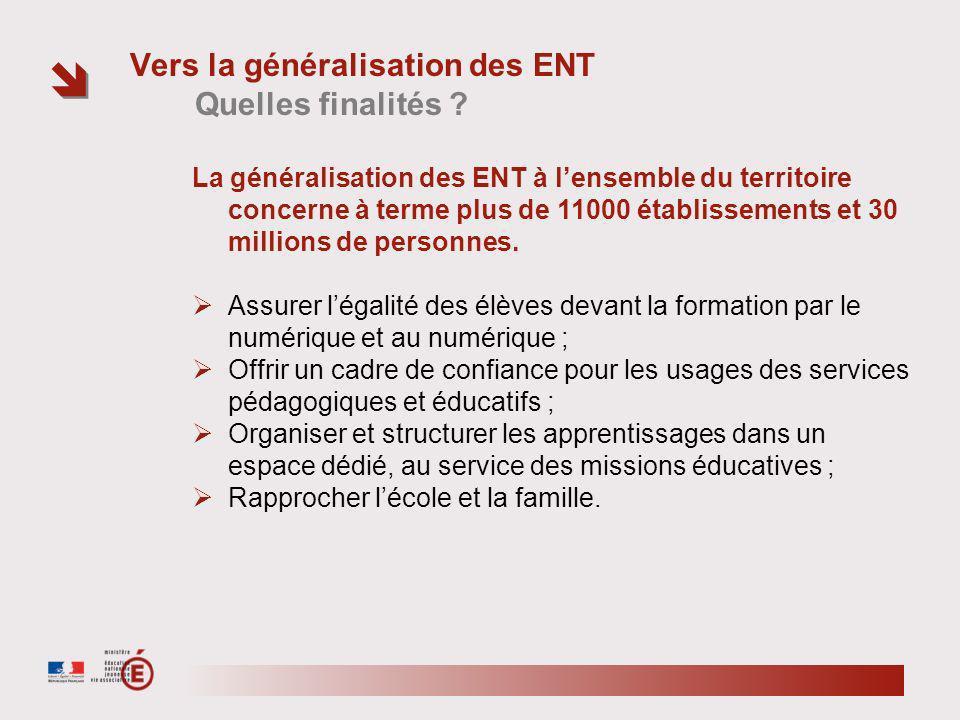 Vers la généralisation des ENT Quelles finalités .