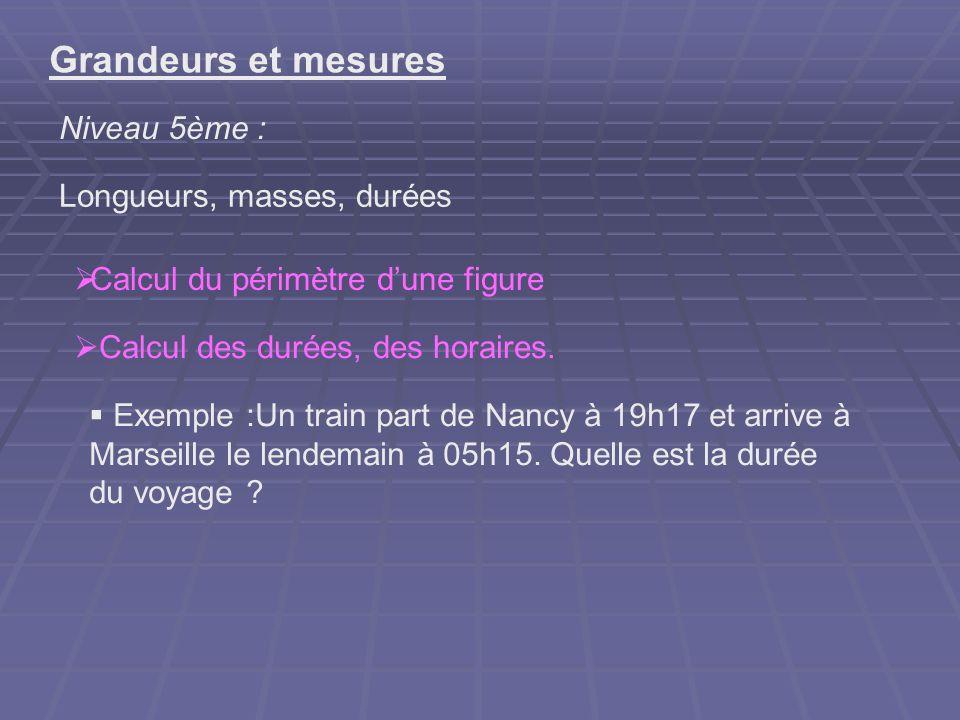 Grandeurs et mesures Niveau 5ème : Longueurs, masses, durées Calcul du périmètre dune figure Calcul des durées, des horaires. Exemple :Un train part d