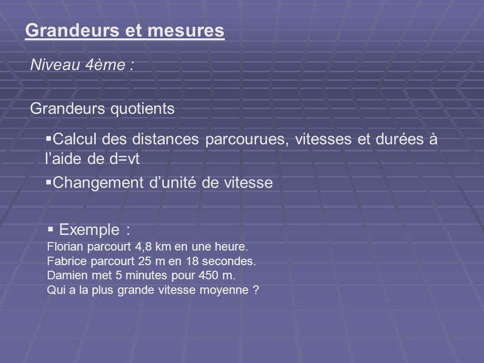 Grandeurs et mesures Niveau 4ème : Grandeurs quotients Calcul des distances parcourues, vitesses et durées à laide de d=vt Changement dunité de vitess