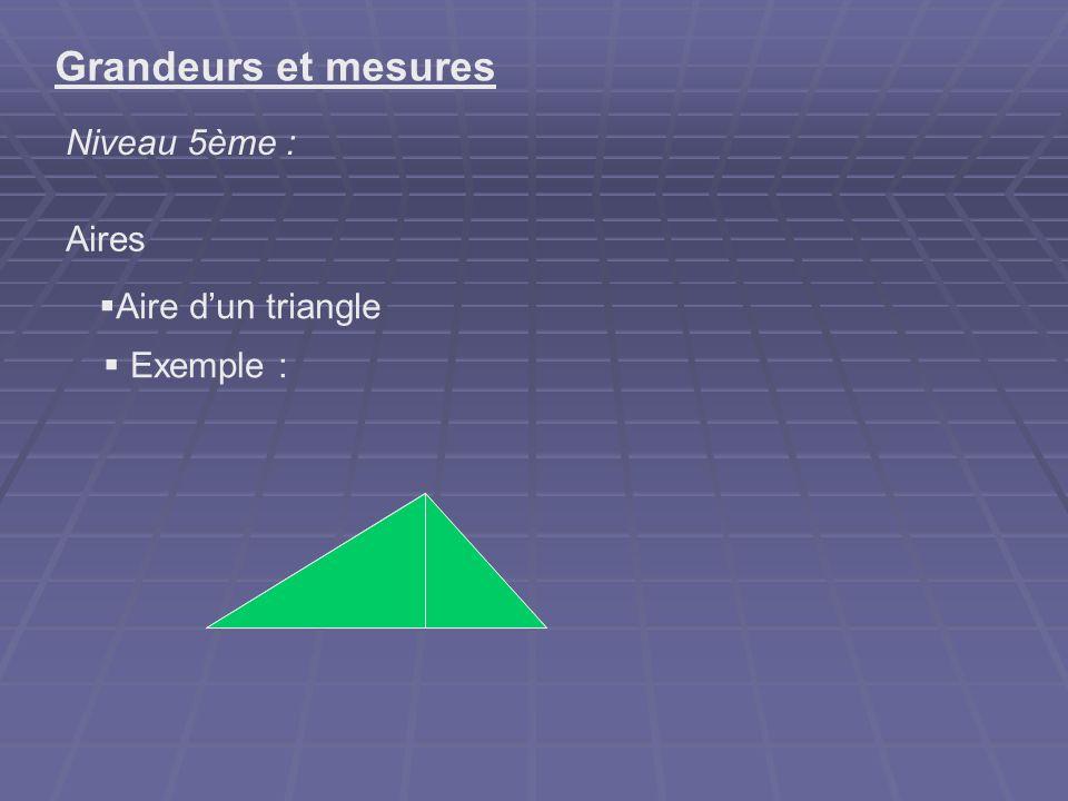 Démontrer que chaque médiane dun triangle partage en deux triangles de la même aire Grandeurs et mesures Niveau 5ème : Aires Exemple : problème ouvert : Des deux triangles rouge et vert, quel est celui qui a la plus grande aire ?