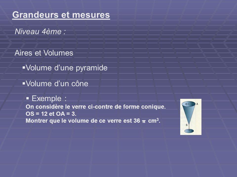 Grandeurs et mesures Niveau 4ème : Aires et Volumes Volume dune pyramide Volume dun cône Exemple : On considère le verre ci-contre de forme conique. O