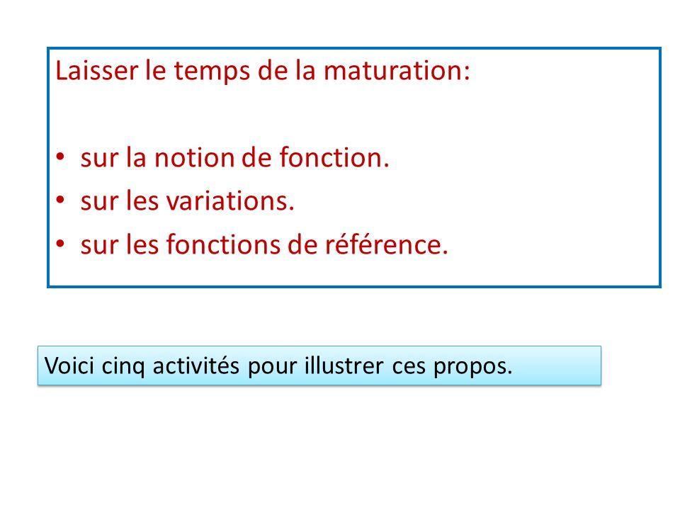 Laisser le temps de la maturation: sur la notion de fonction. sur les variations. sur les fonctions de référence. Voici cinq activités pour illustrer