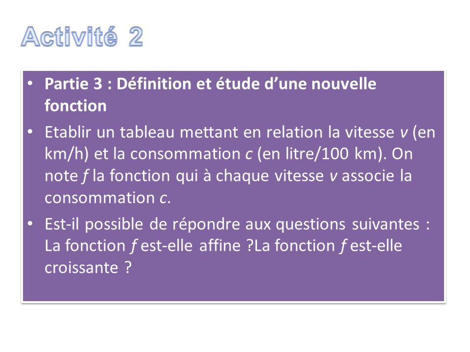 Partie 3 : Définition et étude dune nouvelle fonction Etablir un tableau mettant en relation la vitesse v (en km/h) et la consommation c (en litre/100