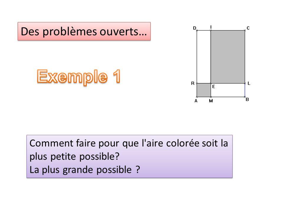 Comment faire pour que l'aire colorée soit la plus petite possible? La plus grande possible ? Comment faire pour que l'aire colorée soit la plus petit