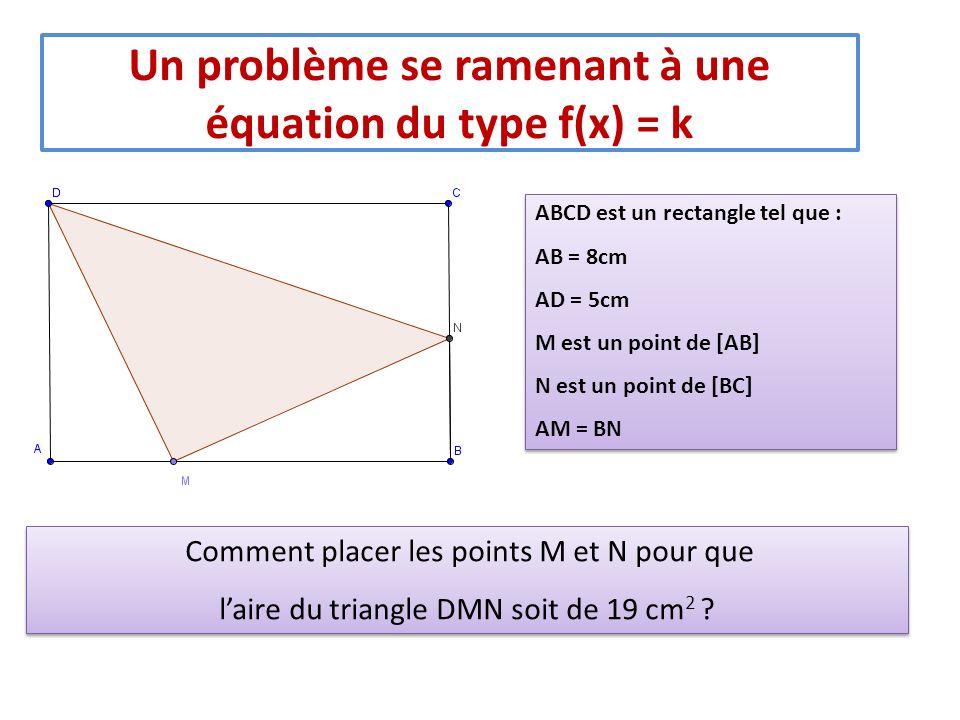 Un problème se ramenant à une équation du type f(x) = k ABCD est un rectangle tel que : AB = 8cm AD = 5cm M est un point de [AB] N est un point de [BC