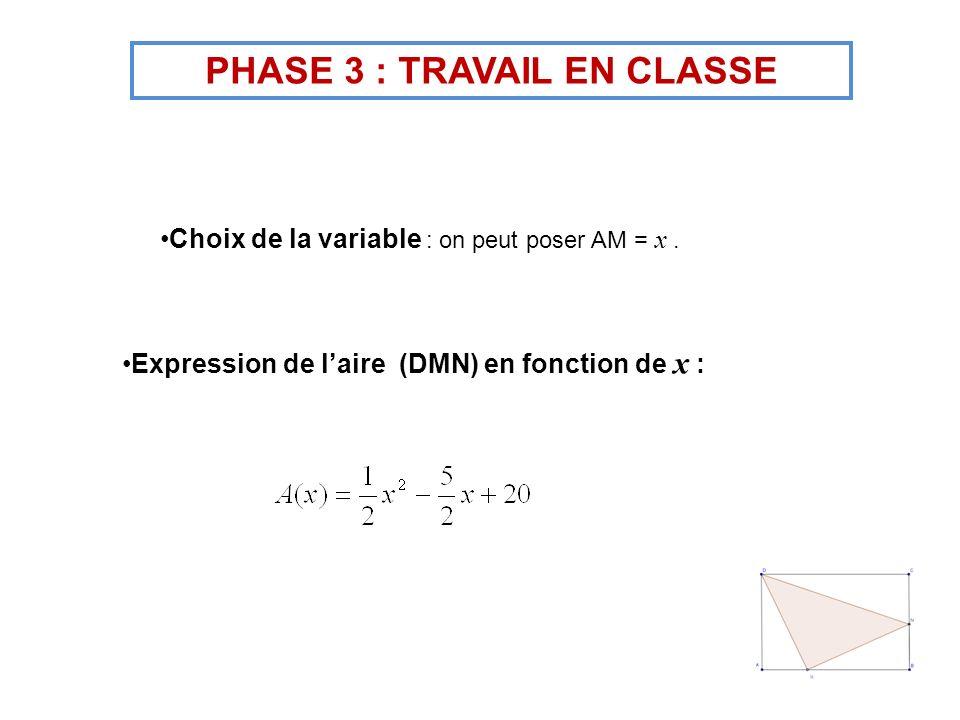 Choix de la variable : on peut poser AM = x. Expression de laire (DMN) en fonction de x : PHASE 3 : TRAVAIL EN CLASSE