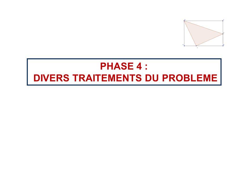 PHASE 4 : DIVERS TRAITEMENTS DU PROBLEME