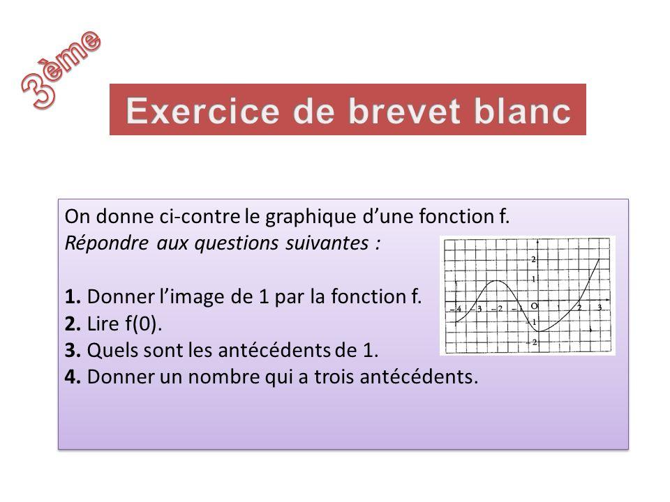 On donne ci-contre le graphique dune fonction f. Répondre aux questions suivantes : 1. Donner limage de 1 par la fonction f. 2. Lire f(0). 3. Quels so