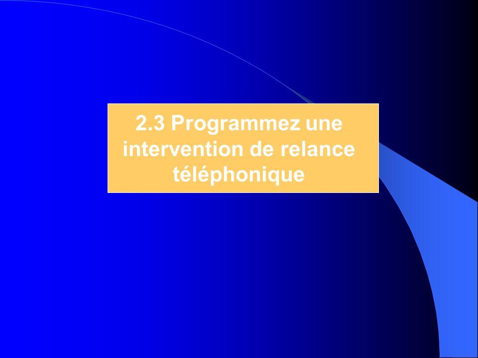2.3 Programmez une intervention de relance téléphonique