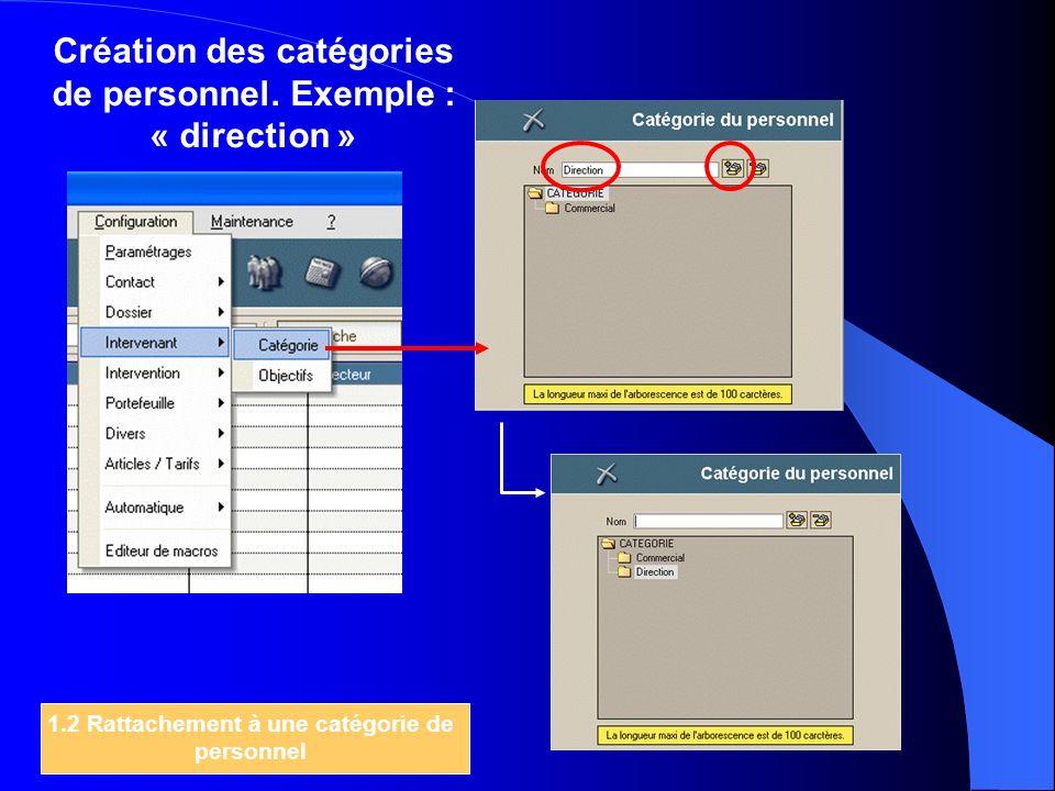 Création des catégories de personnel. Exemple : « direction » 1.2 Rattachement à une catégorie de personnel