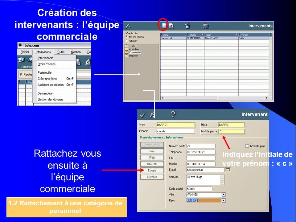 Création des intervenants : léquipe commerciale Rattachez vous ensuite à léquipe commerciale 1.2 Rattachement à une catégorie de personnel Indiquez li