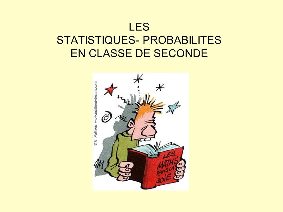 LES STATISTIQUES- PROBABILITES EN CLASSE DE SECONDE