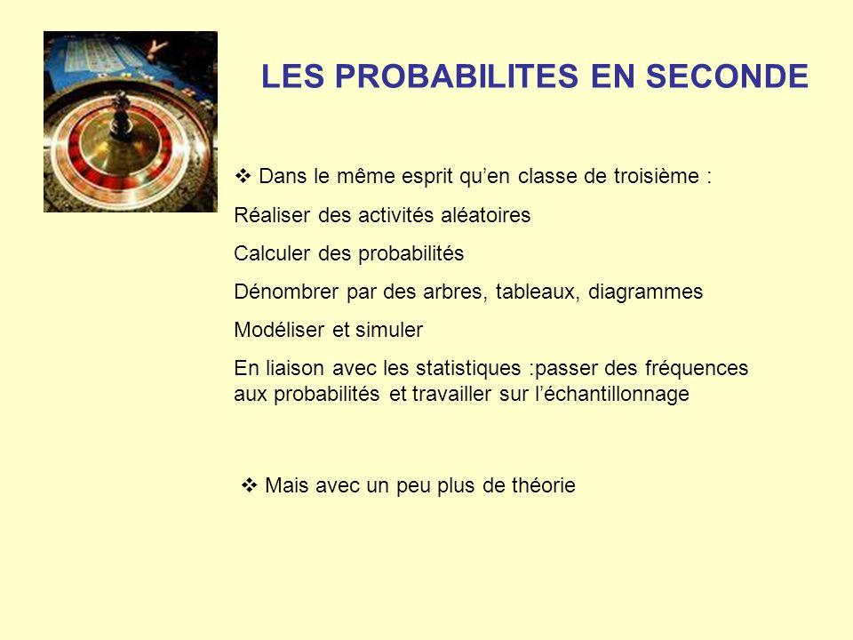 LES PROBABILITES EN SECONDE Dans le même esprit quen classe de troisième : Réaliser des activités aléatoires Calculer des probabilités Dénombrer par d