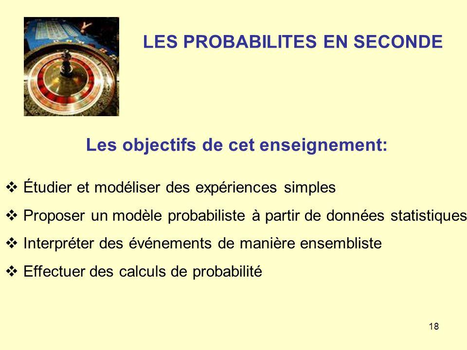 18 LES PROBABILITES EN SECONDE Étudier et modéliser des expériences simples Proposer un modèle probabiliste à partir de données statistiques Interprét
