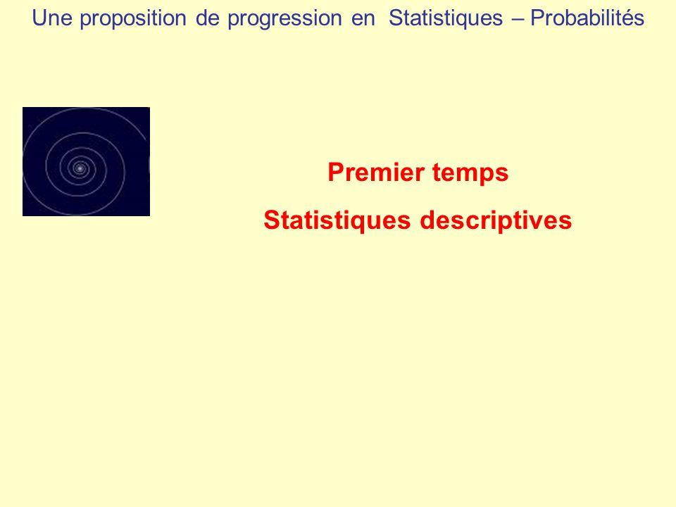 Une proposition de progression en Statistiques – Probabilités Premier temps Statistiques descriptives