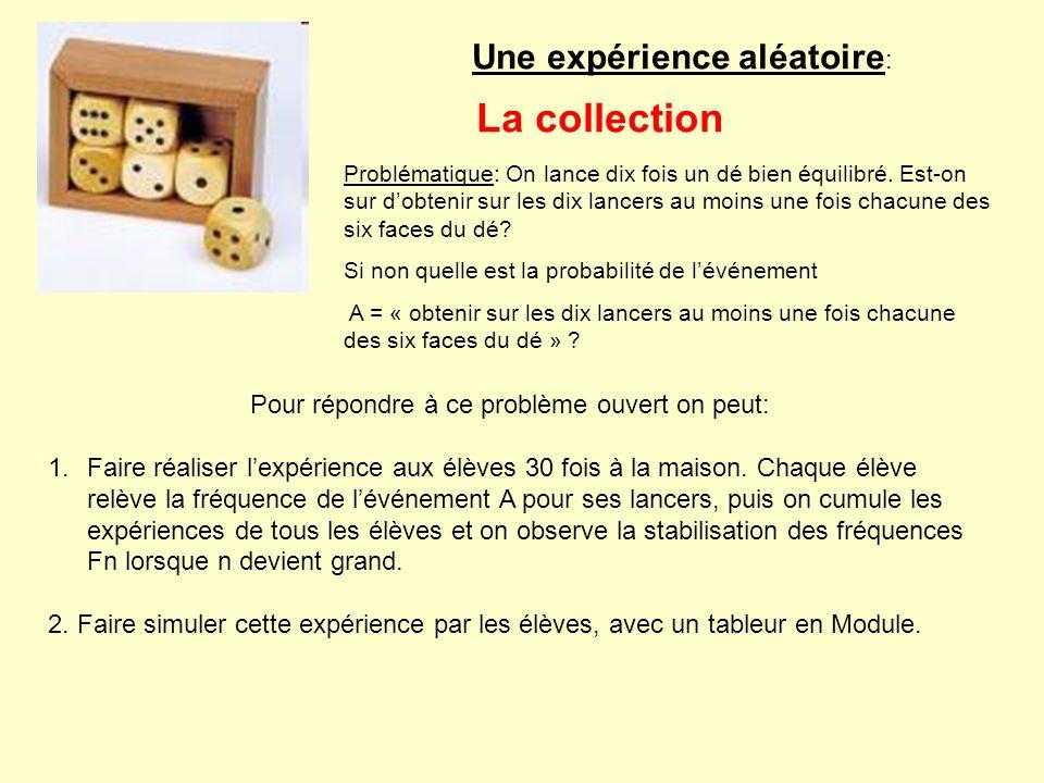 Une expérience aléatoire : La collection Problématique: On lance dix fois un dé bien équilibré. Est-on sur dobtenir sur les dix lancers au moins une f