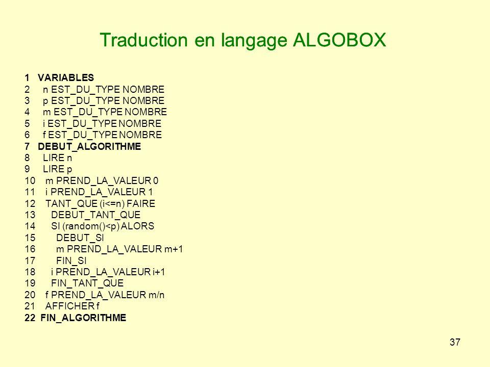 37 Traduction en langage ALGOBOX 1 VARIABLES 2 n EST_DU_TYPE NOMBRE 3 p EST_DU_TYPE NOMBRE 4 m EST_DU_TYPE NOMBRE 5 i EST_DU_TYPE NOMBRE 6 f EST_DU_TY