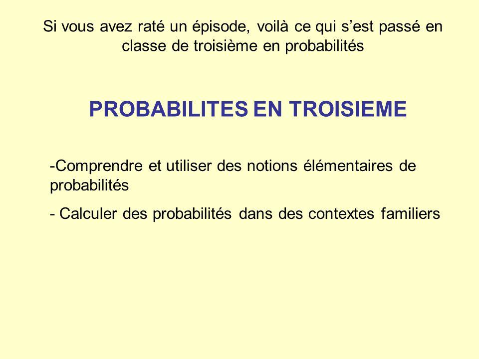 -Comprendre et utiliser des notions élémentaires de probabilités - Calculer des probabilités dans des contextes familiers Si vous avez raté un épisode
