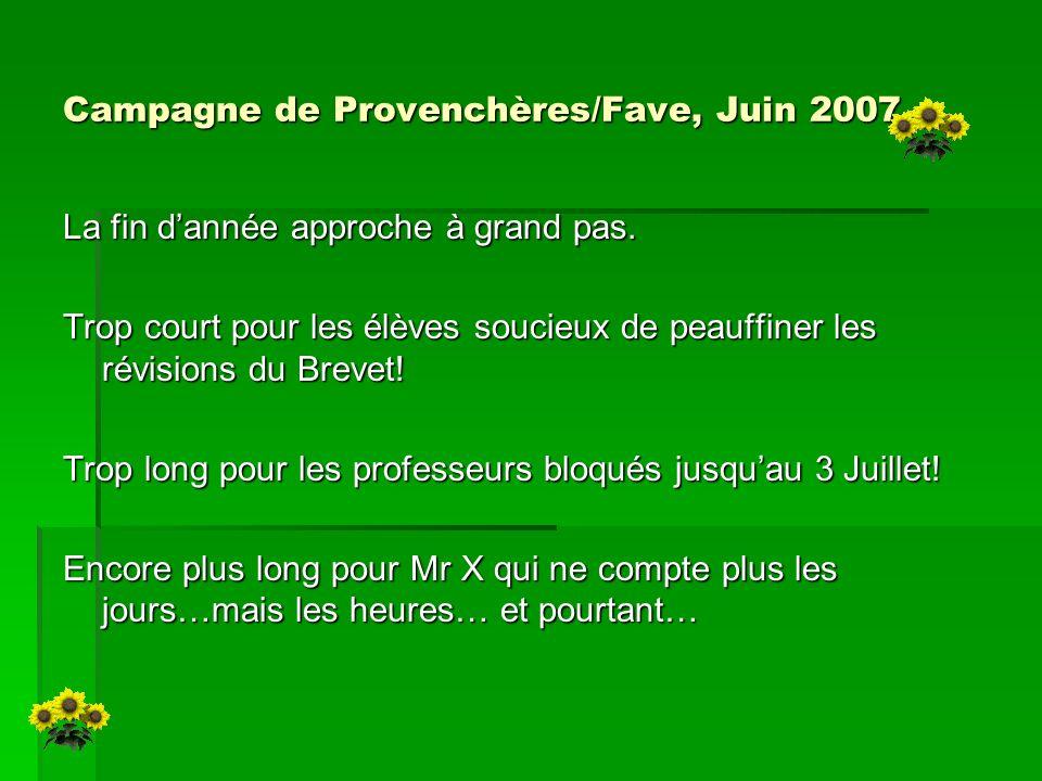 Campagne de Provenchères/Fave, Juin 2007 La fin dannée approche à grand pas. Trop court pour les élèves soucieux de peauffiner les révisions du Brevet