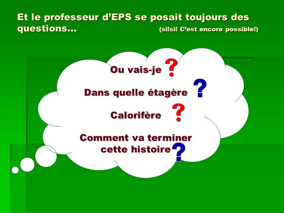 Et le professeur dEPS se posait toujours des questions… (si!si! Cest encore possible!) Ou vais-je Dans quelle étagère Calorifère Comment va terminer c