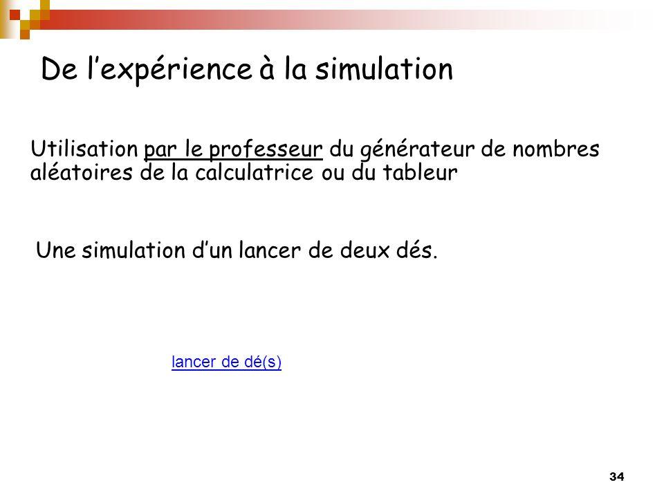 34 De lexpérience à la simulation Utilisation par le professeur du générateur de nombres aléatoires de la calculatrice ou du tableur Une simulation dun lancer de deux dés.