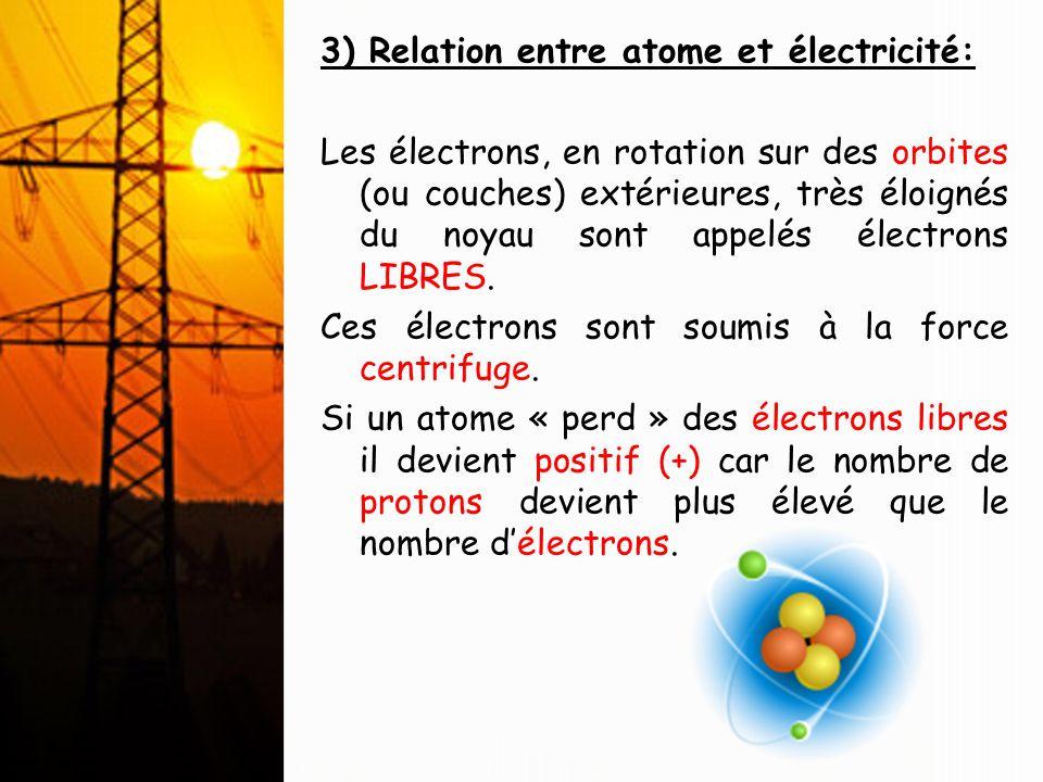 3) Relation entre atome et électricité: Les électrons, en rotation sur des orbites (ou couches) extérieures, très éloignés du noyau sont appelés élect