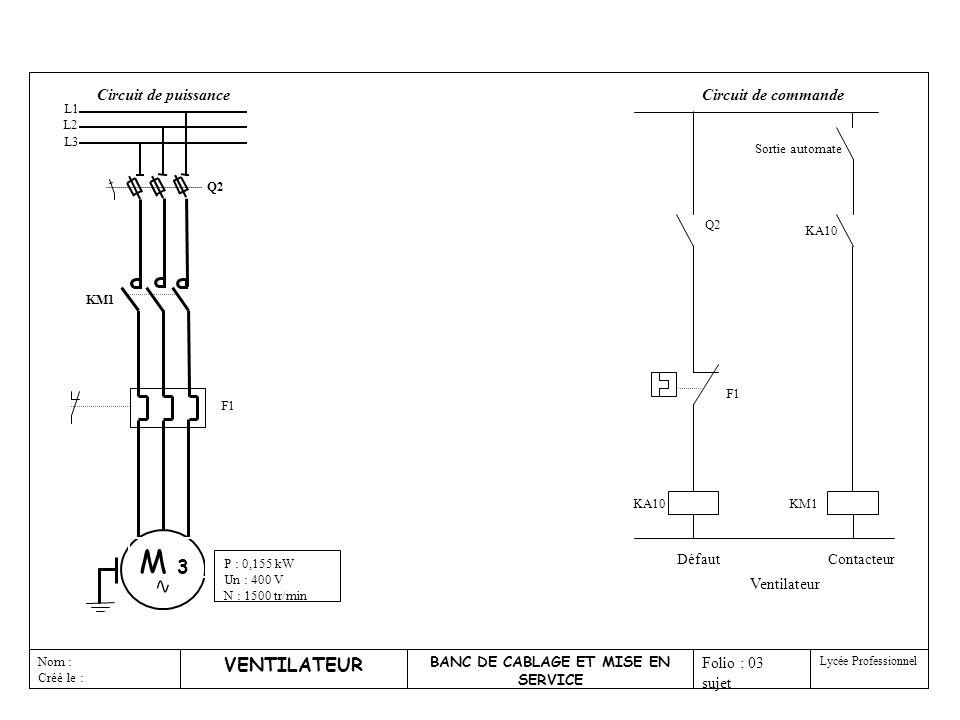 iufm de lorraine3 VENTILATEUR BANC DE CABLAGE ET MISE EN SERVICE Nom : Créé le : Folio : 03 sujet Lycée Professionnel KA10 Contacteur KM1 Ventilateur Q2 F1 KA10 Défaut Sortie automate Circuit de commande Q2 KM1 F1 P : 0,155 kW Un : 400 V N : 1500 tr/min M 3 Circuit de puissance L1 L2 L3