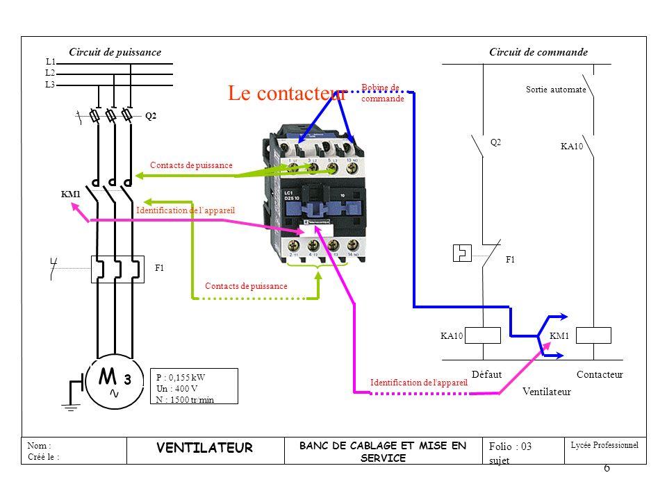 7 VENTILATEUR BANC DE CABLAGE ET MISE EN SERVICE Nom : Créé le : Folio : 03 sujet Lycée Professionnel KA10 Contacteur KM1 Ventilateur Q2 F1 KA10 Défaut Sortie automate Circuit de commande Q2 KM1 F1 P : 0,155 kW Un : 400 V N : 1500 tr/min M 3 Circuit de puissance L1 L2 L3 Pôles de puissance Identification de lappareil Contact « O » déclenchement Réglage appareil Bouton réarmement Le relais thermique