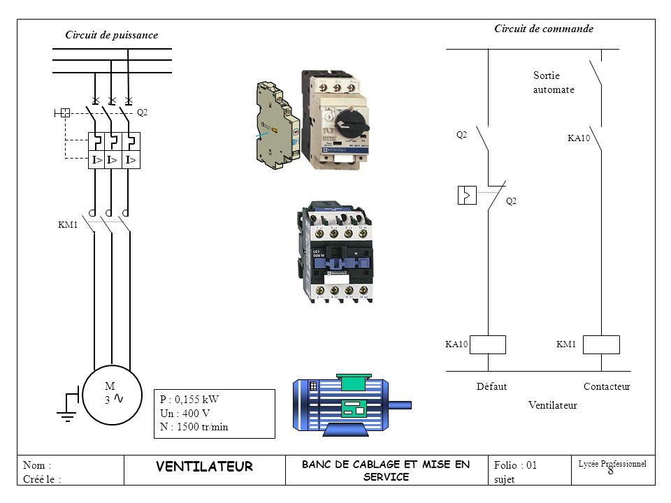 9 M3M3 KM1 VENTILATEUR BANC DE CABLAGE ET MISE EN SERVICE Nom : Créé le : Folio : 01 sujet Lycée Professionnel P : 0,155 kW Un : 400 V N : 1500 tr/min Circuit de puissance Q2 I> Isoler le circuit Protéger contre les C.C.