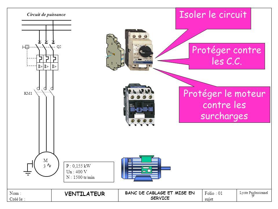 10 M3M3 KM1 KA10 Contacteur KM1 Ventilateur Q2 KA10 Défaut VENTILATEUR BANC DE CABLAGE ET MISE EN SERVICE Nom : Créé le : Folio : 01 sujet Lycée Professionnel P : 0,155 kW Un : 400 V N : 1500 tr/min Sortie automate Circuit de puissance Circuit de commande Q2 I> Pôles de puissance Dispositif de manoeuvre Contact auxiliaire Repère appareil Le disjoncteur moteur